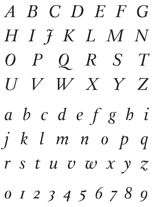 Leyden Italic - Uppercase, Lowercase and Numerals