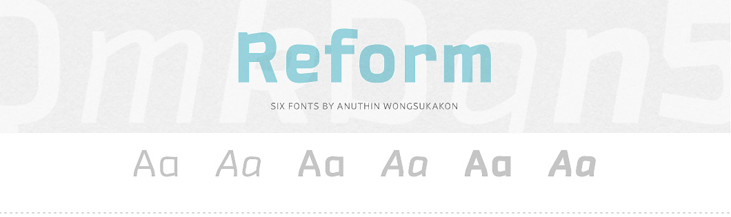 Reform Font Family from the library of PSY/OPS Type Foundry
