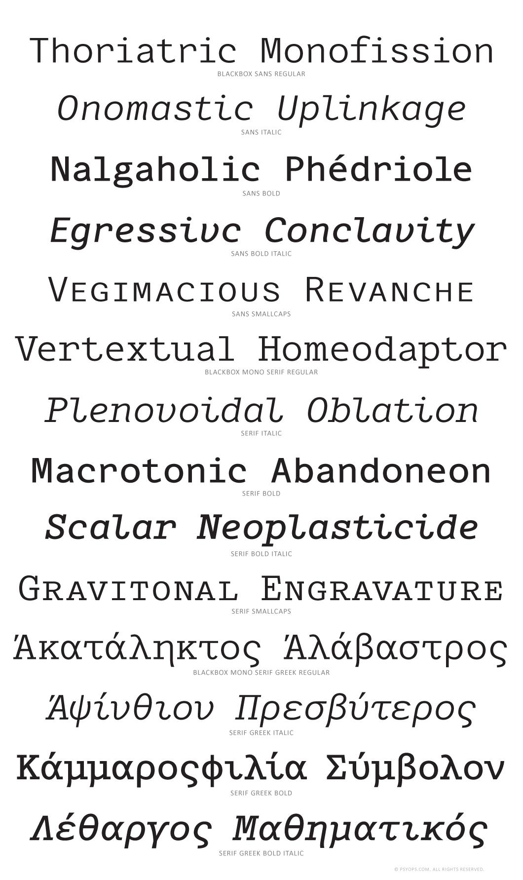 Blackbox Superset Font Specimen