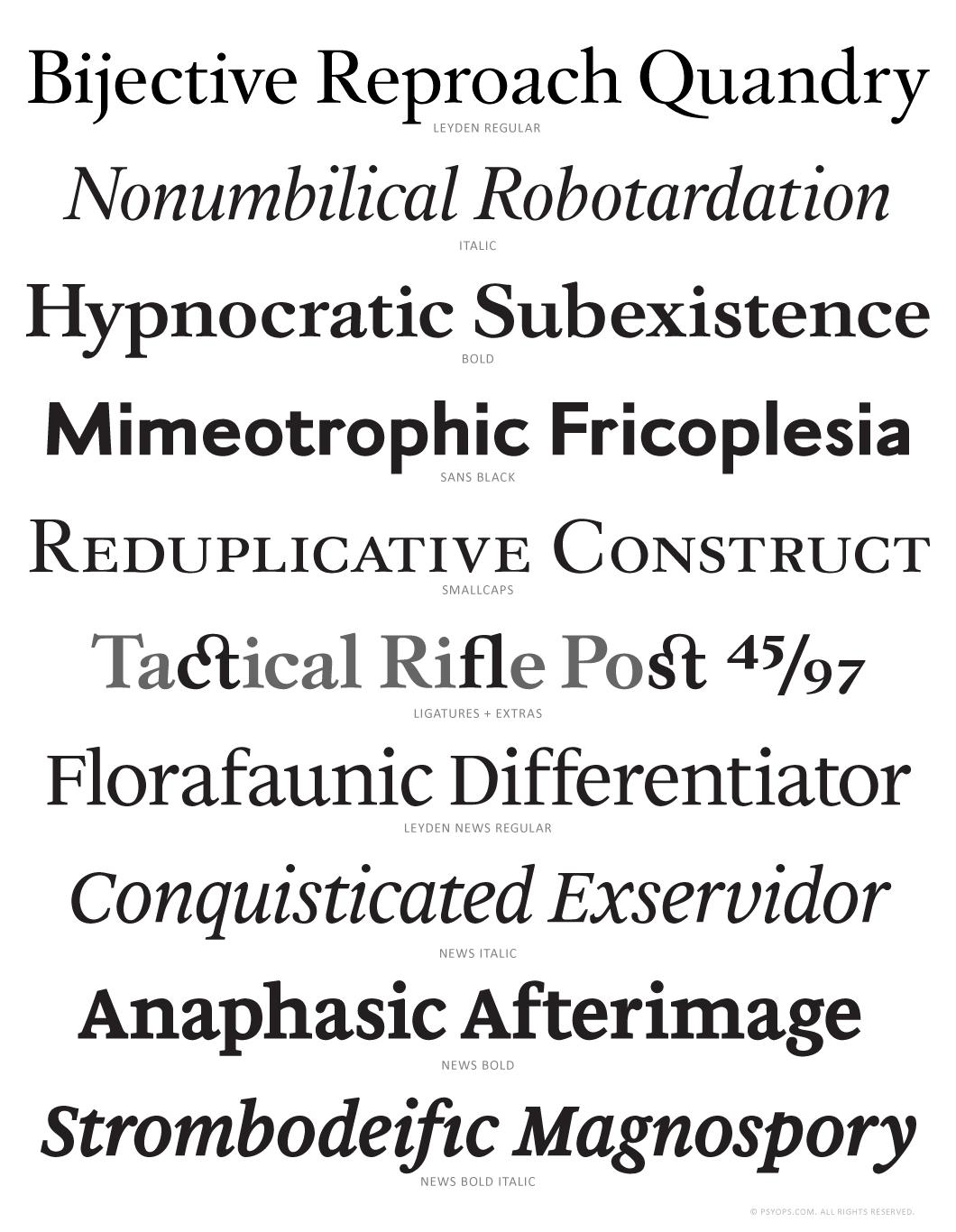 Leyden Font Specimen