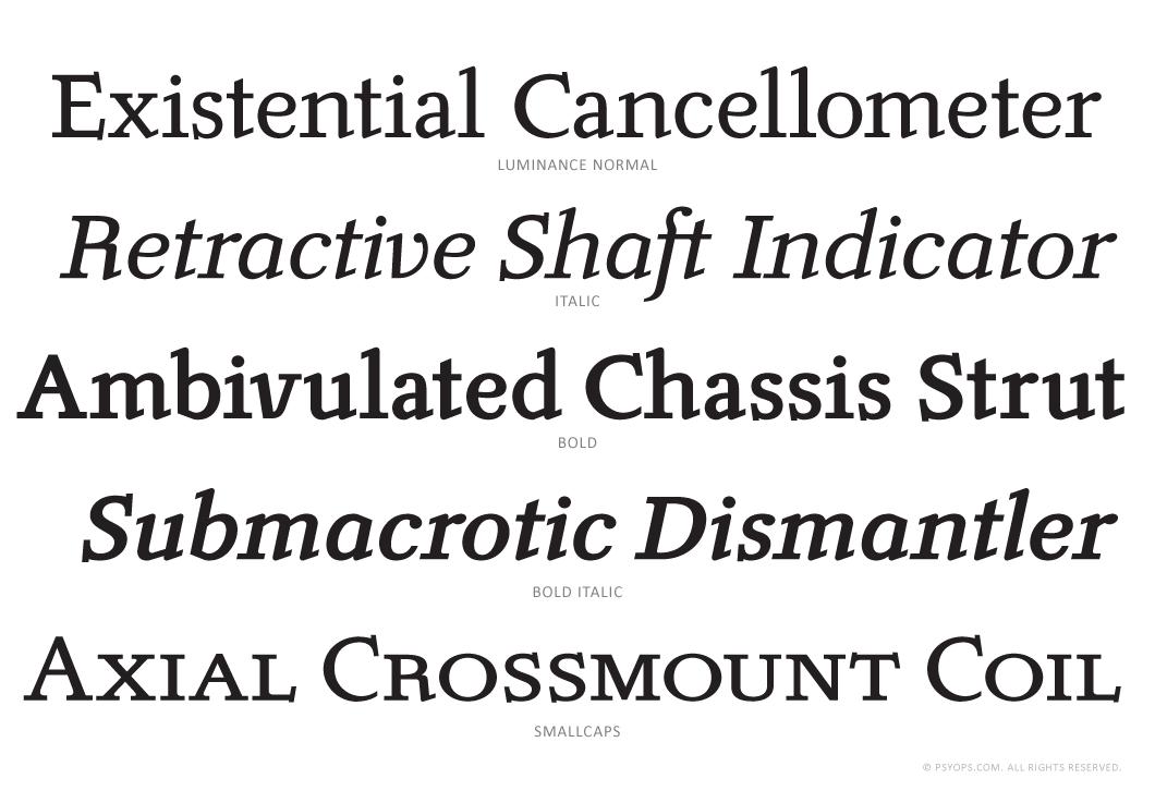 Luminance Complete Font Specimen