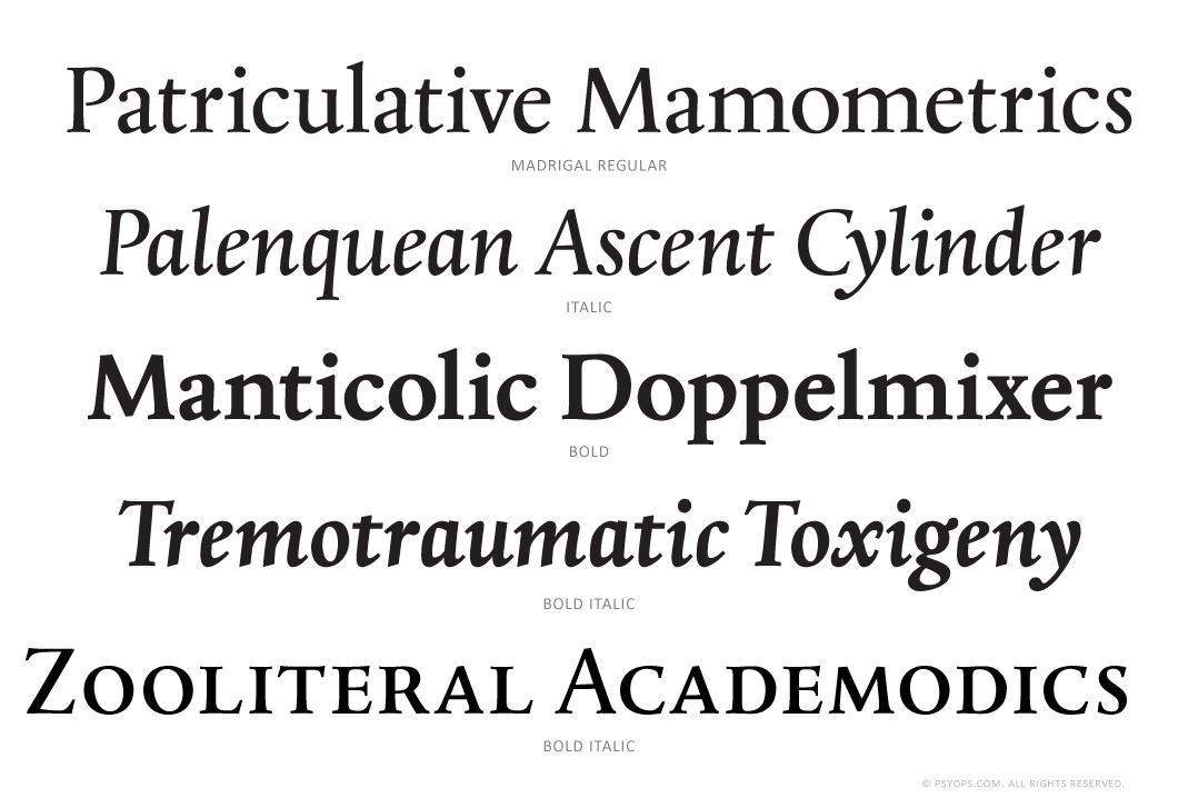 Madrigal Font Specimen