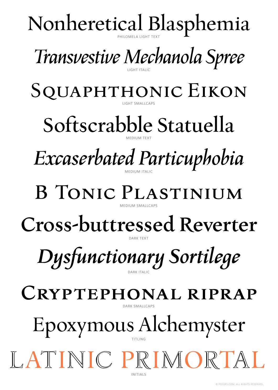 Philomela Font Specimen