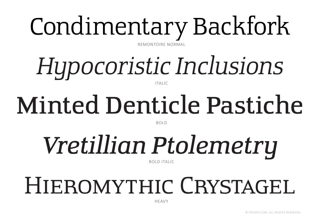 Remontoire Font Specimen