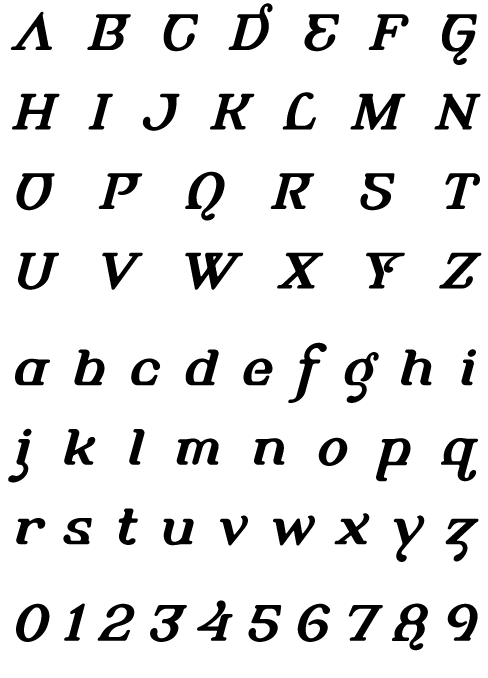 Alembic Bold Italic Two - Uppercase, Lowercase and Numerals