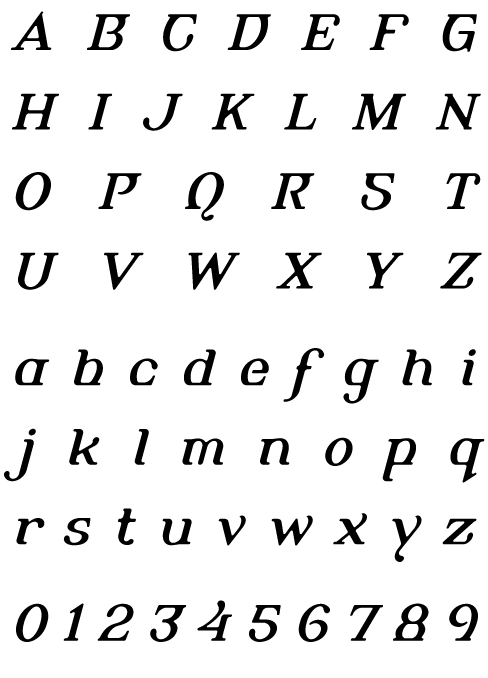 Alembic Regular Italic One - Uppercase, Lowercase and Numerals