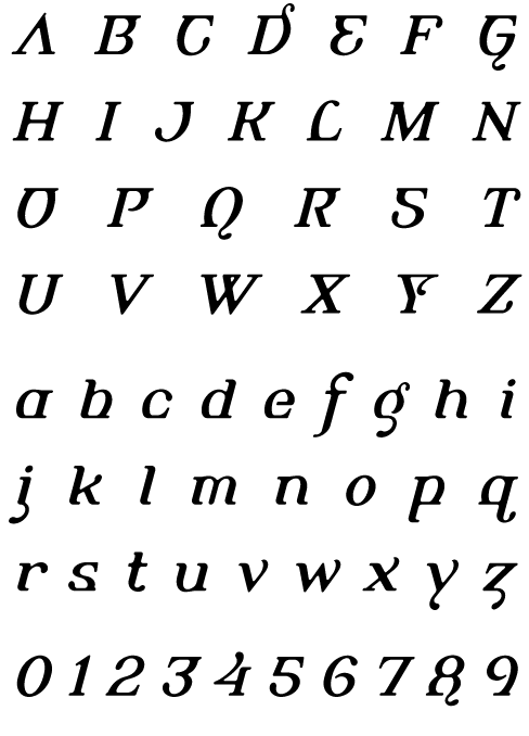 Alembic Regular Italic Two - Uppercase, Lowercase and Numerals