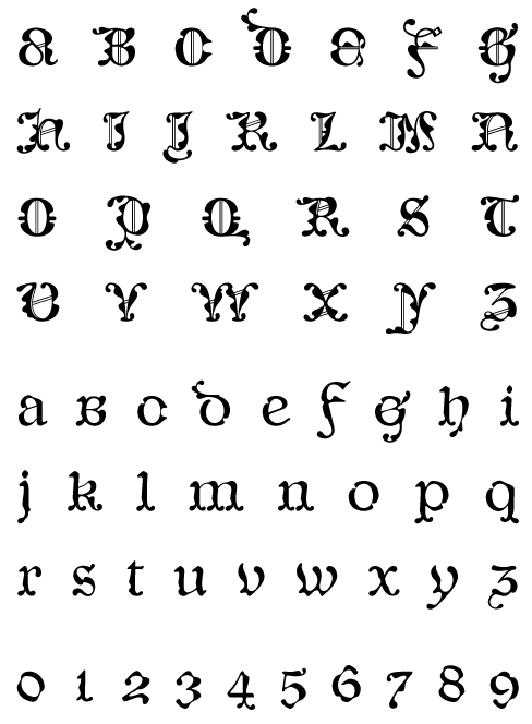 CaligrafiaDeBula_Regio - Uppercase, Lowercase and Numerals