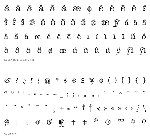 CaligrafiaDeBula_Regio - Accents, Ligatures and Symbols