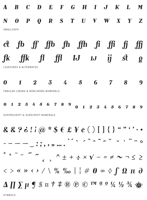 Catacumba_BoldItalic - Small Caps, Ligatures, Alternates, Tabular lining & Non lining Numerals, Superscript & Subscript Numerals, Symbols