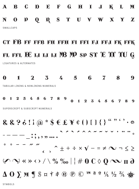 Catacumba_Excelsa - Small Caps, Ligatures, Alternates, Tabular lining & Non lining Numerals, Superscript & Subscript Numerals, Symbols