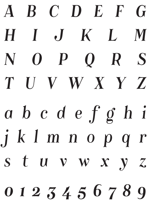 Catacumba_Italic - Uppercase, Lowercase and Numerals