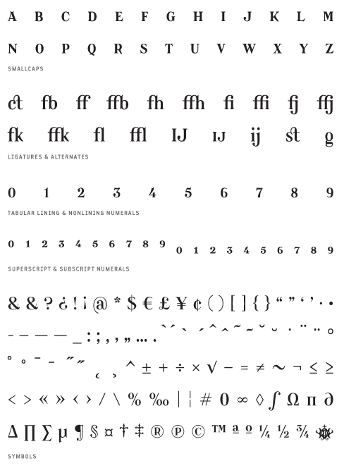 Catacumba_Regular - Small Caps, Ligatures, Alternates, Tabular lining & Non lining Numerals, Superscript & Subscript Numerals, Symbols