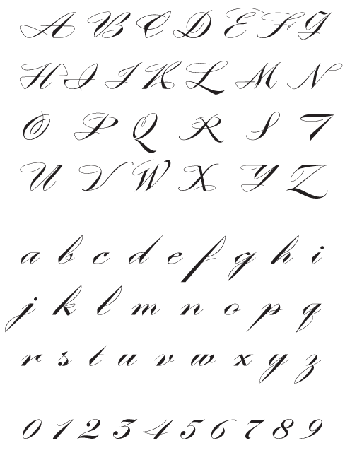 ContempoElan_GrandScript - Uppercase, Lowercase and Numerals
