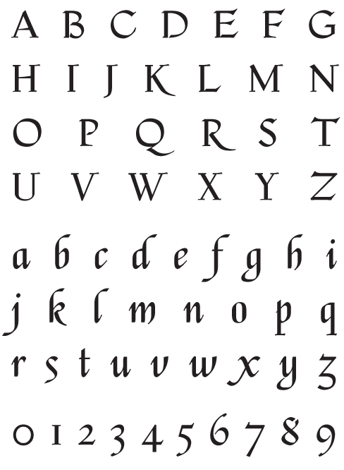 Escorial_Classic - Uppercase, Lowercase and Numerals