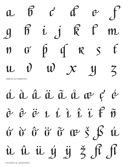 Escorial_Swash - Alternates, Accents and Ligatures
