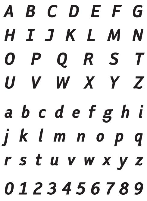 FaceplateSans_EOblique - Uppercase, Lowercase and Numerals