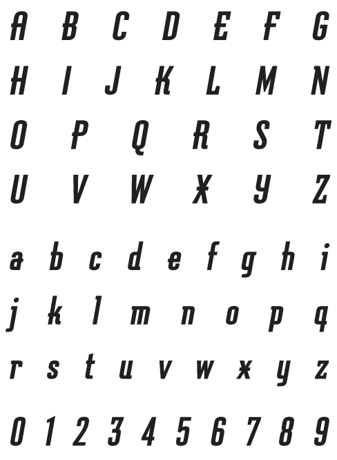 Graficz_BoldOblique - Uppercase, Lowercase and Numerals