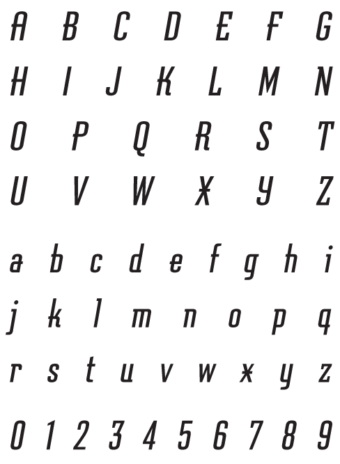 Graficz_Oblique - Uppercase, Lowercase and Numerals