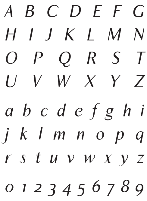 Inegale_Italic - Uppercase, Lowercase and Numerals