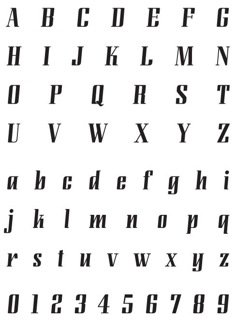 LundaModern_Regular - Uppercase, Lowercase and Numerals