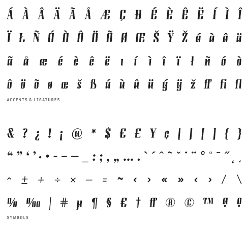 LundaModern_Regular - Accents, Ligatures and Symbols