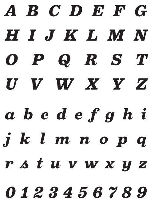 Oxtail_BlackItalic - Uppercase, Lowercase and Numerals