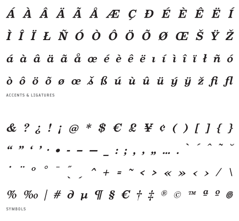 Oxtail_BoldItalic - Accents, Ligatures and Symbols
