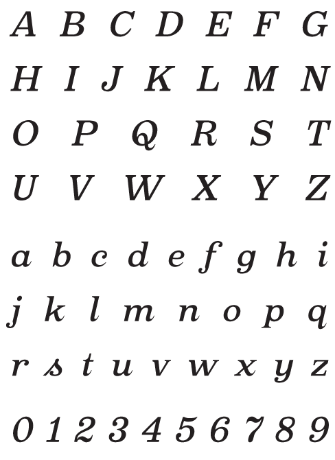 Oxtail_MediumItalic - Uppercase, Lowercase and Numerals