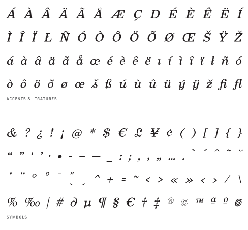 Oxtail_MediumItalic - Accents, Ligatures and Symbols