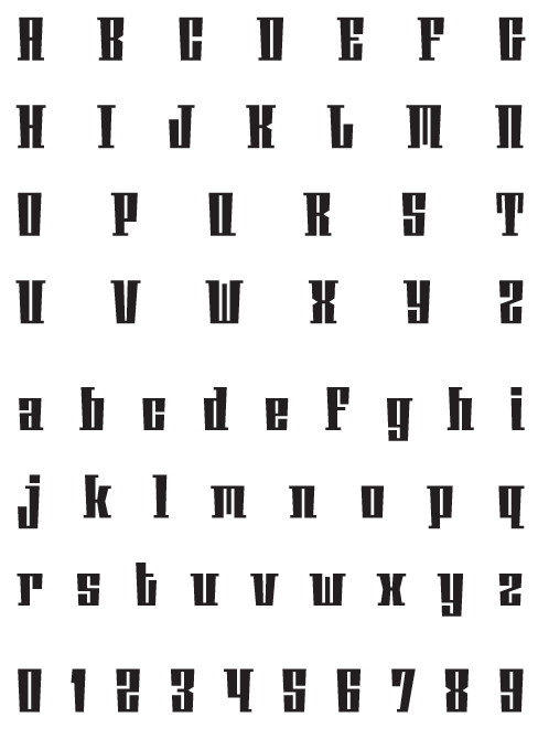 Phalanx_AGauge - Uppercase, Lowercase and Numerals