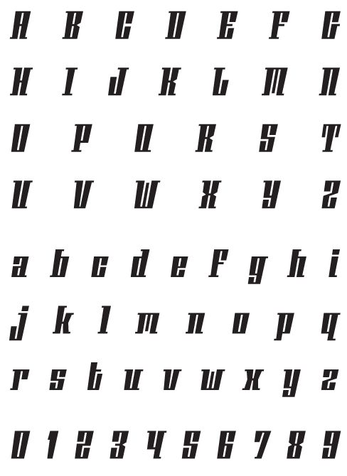 Phalanx_AOblique - Uppercase, Lowercase and Numerals