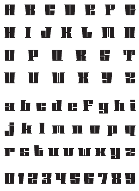 Phalanx_BGauge - Uppercase, Lowercase and Numerals