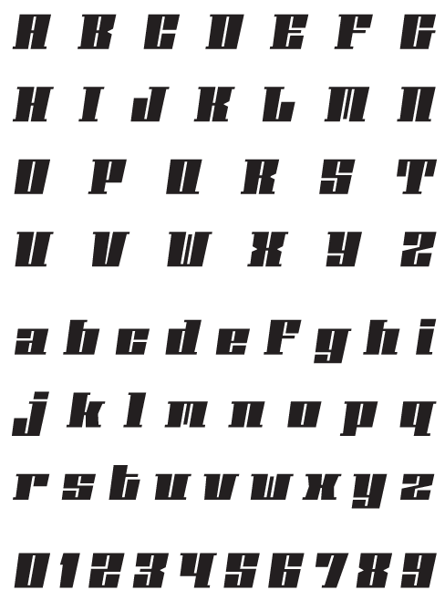 Phalanx_BOblique - Uppercase, Lowercase and Numerals