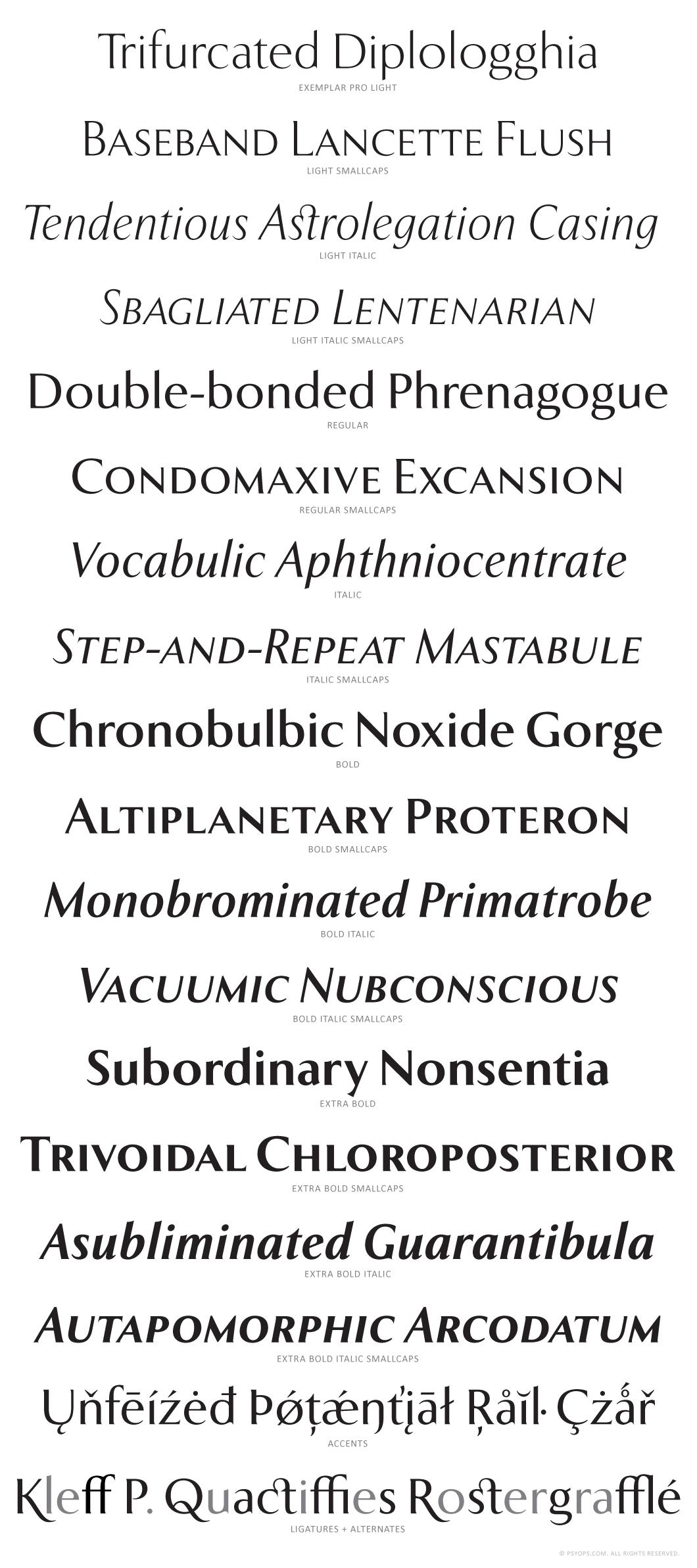 Exemplar-Font-Specimen