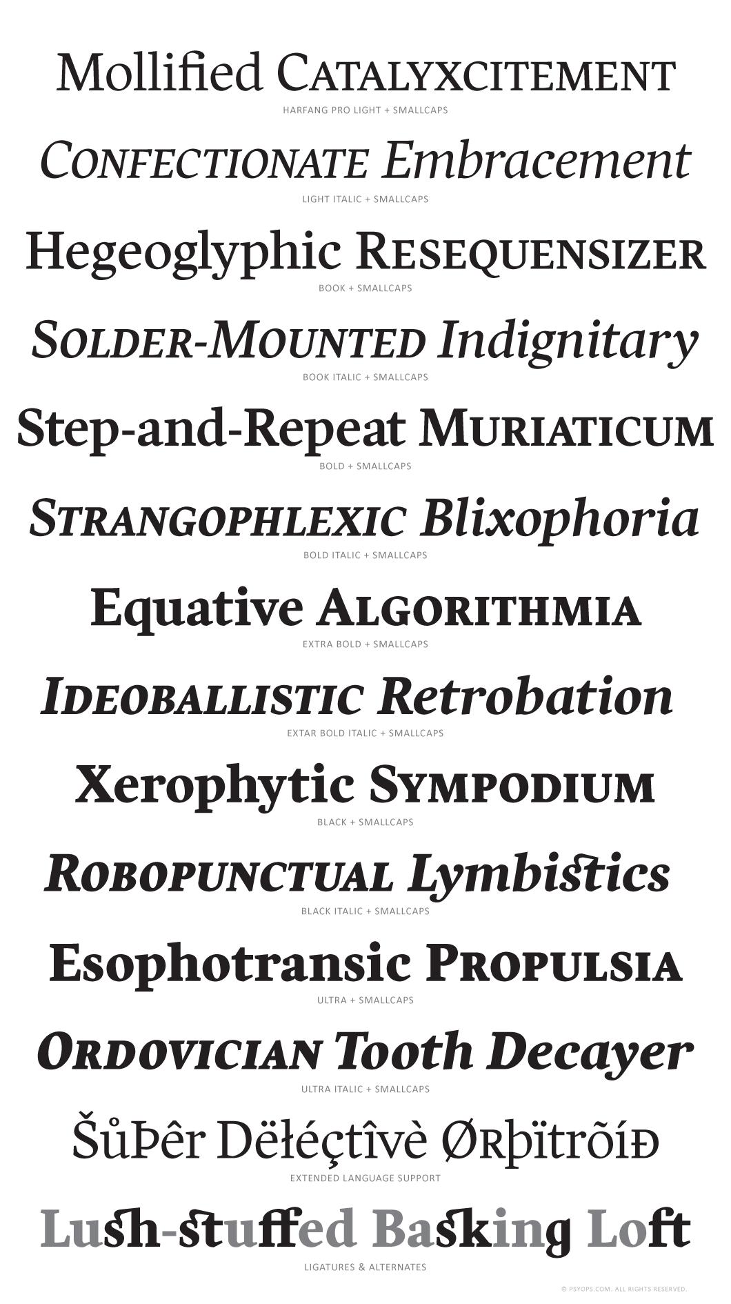 Harfang Pro Font Specimen