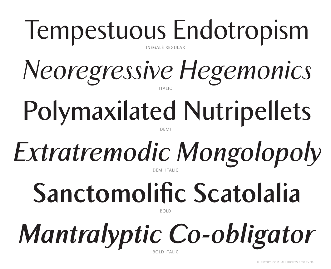 Inegale Font Specimen