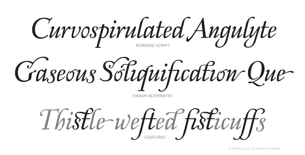 Ronsard Complete Script Font Specimen