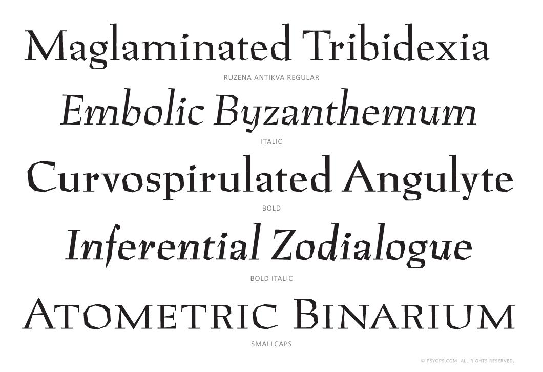 Ruzena Antikva Set Font Specimen