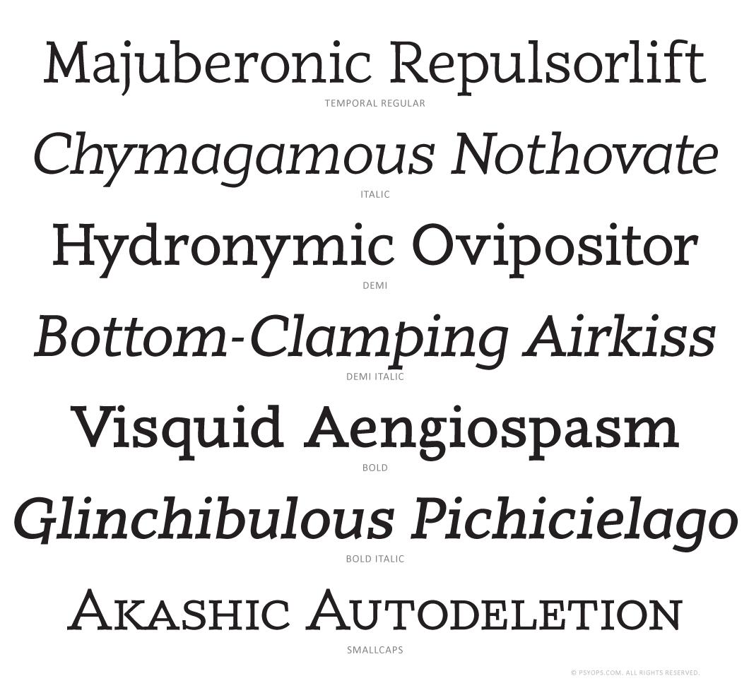 Temporal Font Specimen