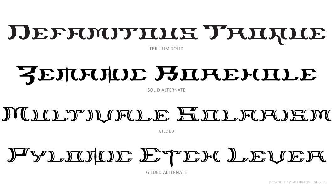 Trillium Font Specimen