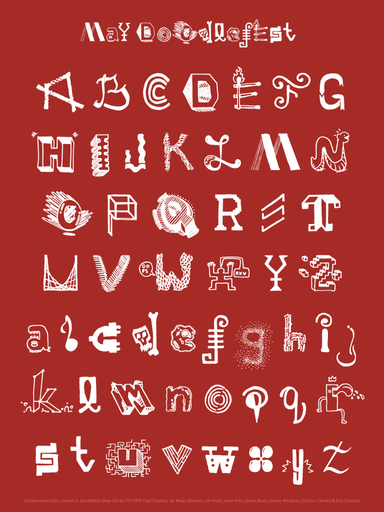 Alphabetic Order Doodlefest collaborative font