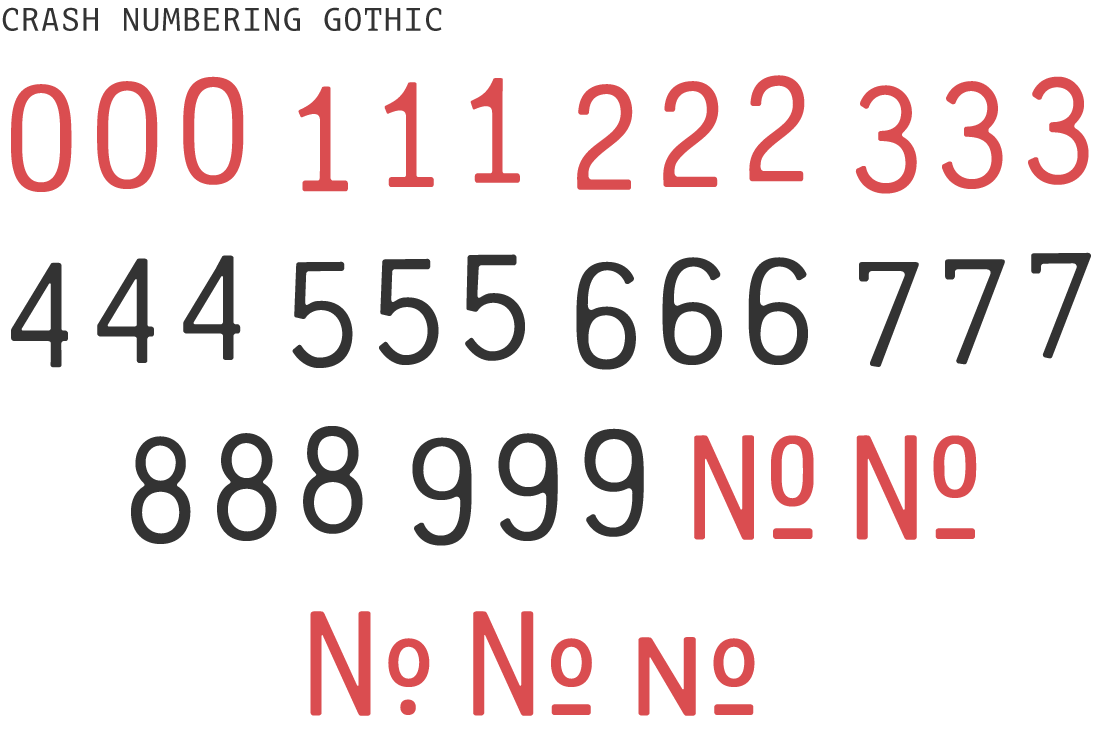 Crash Numbering - | PSY/OPS Type Foundry